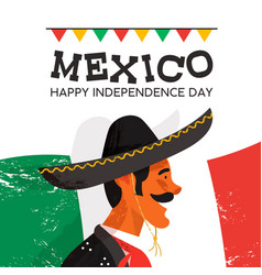 Mexico independence day card of mariachi man vector