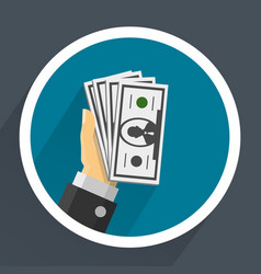Money in hands vector