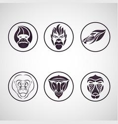 monkey logo icon set vector image