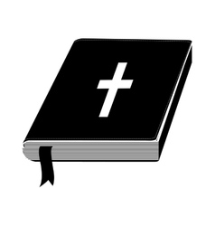 monochrome silhouette with holy bible with ribbon vector image