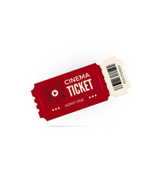 movie ticket red cinema ticket isolated on white vector image