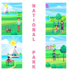 National park in summer with relaxing people vector