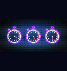 Neon stopwatch timers with 20 25 and 30 minutes vector