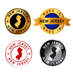 new jersey badges gold stamp rubber band circle vector image