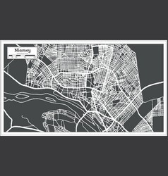 Niamey niger city map in retro style outline map vector