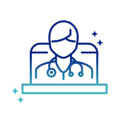 Online health doctor with stethoscope in laptop vector