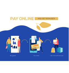 pay online and get bonuses - flat design style vector image