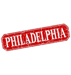 Philadelphia red square grunge retro style sign vector