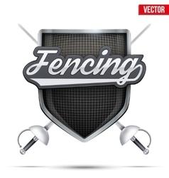 Premium symbol fencing shield label vector