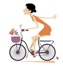 pretty young woman rides a bike vector image