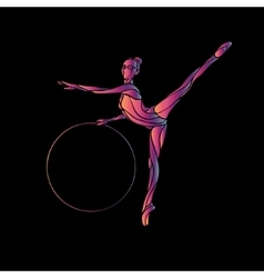 Rhythmic Gymnastics with Hoop Silhouette on black vector image
