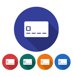 round icon of bank card flat style with long vector image