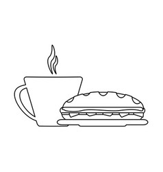 Sandwich and coffee cup black and white vector