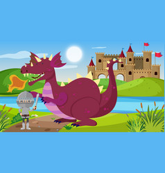 scene with knight and dragon in fairytale land vector image
