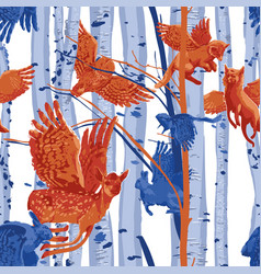 seamless pattern winged forest animals flying vector image