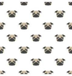 Seamless pattern with pug Dog head flat icon vector image