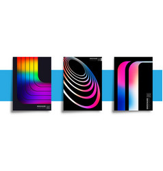 set abstract design posters with colorful vector image