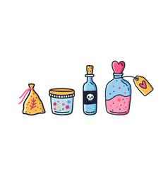 Set colorful jars and bag with magic potion vector