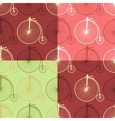 Set of abstract vintage bicycle seamless vector image