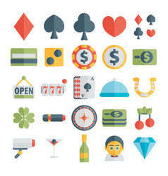 set of casino icons in flat design vector image