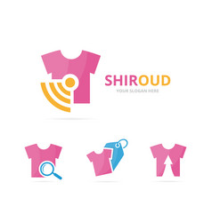 Set of cloth logo combination shirt and signal vector