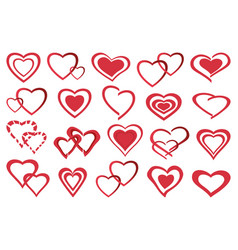 Set of decorative red heart icon vector