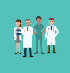 set of doctors characters male and female medical vector image