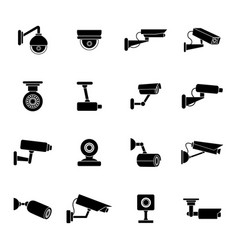 set of icons of security camera vector image