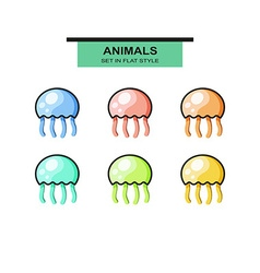 Set of jellyfish in flat style with strokes vector image