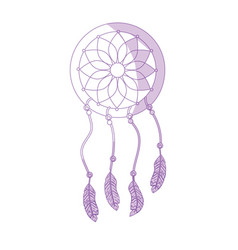 Silhouette beauty dream catcher with feathers vector