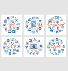 six banners - isp chatting browser vector image