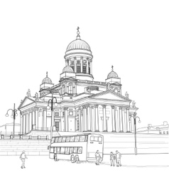 Sketch cathedral in helsinki vector