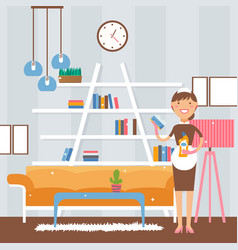 Smiling maid in clean apartment vector