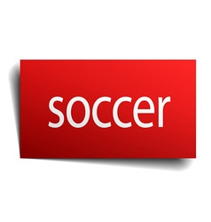 soccer red paper sign isolated on white vector image