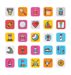 Sports and games flat icons set 5 vector