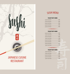 Sushi restaurant menu with chopsticks and price vector