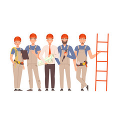 team builders in gray overalls and blue shirts vector image