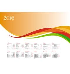 Template of 2016 calendar on orange background vector image