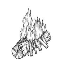 traditional burning wooden stick monochrome vector image