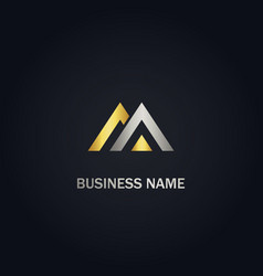 triangle m initial gold logo vector image