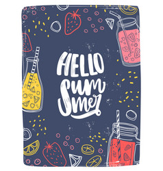 vertical card or postcard template with hello vector image