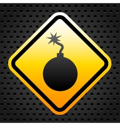 Warning sign with bomb vector image