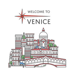 welcome to venice poster in linear style vector image