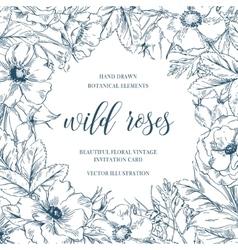 wild roses floral frame vector image
