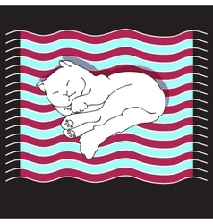 With cat on a striped mat vector