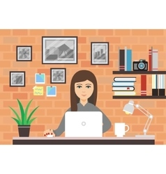Woman With Laptop In Modern Room vector