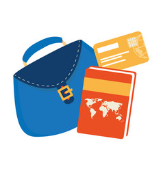 Women bag with atlas book and credit card vector