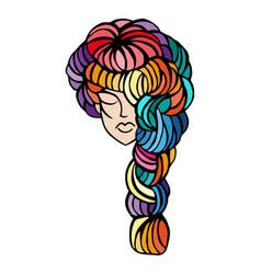 women long hair style icon logo vector image