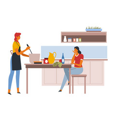 women talking in kitchen while female cooking vector image