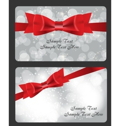 Holiday gift cards with red bow ribbon and place vector image